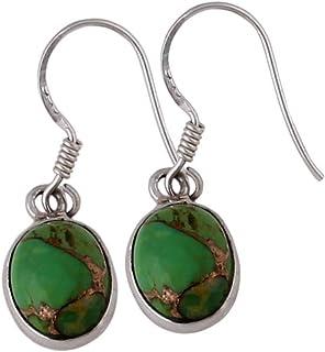 Pendientes de plata con piedras preciosas de color para mujer, pendientes de gota, pendiente de turquesa verde oval, pendientes colgantes Plata Aretes, Sterling Silver Earrings for Women