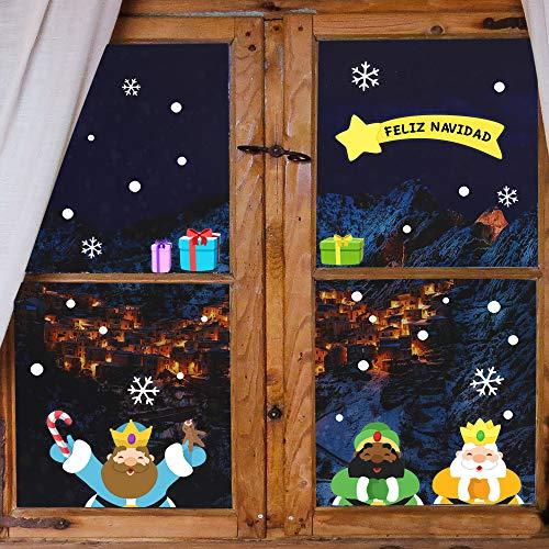 ETIKIDS Decoración navideña Personalizada para Ventanas. Pegatinas Removibles de Navidad para Ventana con Texto Personalizado (Reyes Magos)