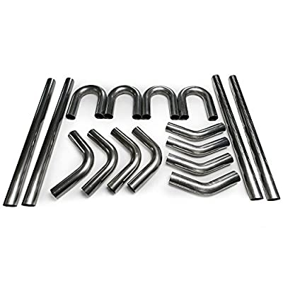 """Squirrelly 2.5"""" Inch Stainless Steel Mandrel Bend Angles Bent Diy Builders 45/180/90 Degree Straight Intake Tubing Exhaust Piping System Part is Universal"""