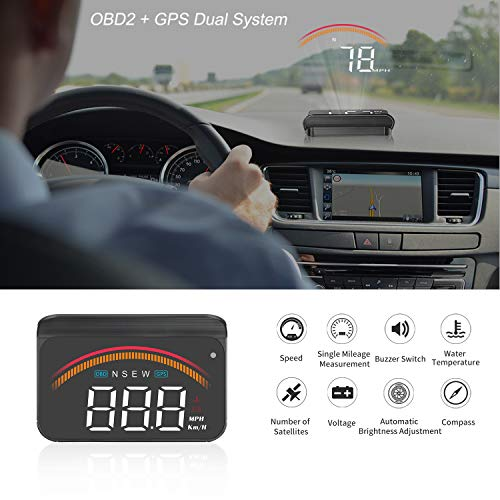 WonVon Car HUD Head-Up Display,Universal A8 Head Up Display 5.5 Dash Screen Projector OBD II OBD2 Auto Gauge Dash Projector Speedometer