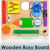 Montessori Busy Board for Toddlers - Wooden Travel Toy with Sensory Educational...