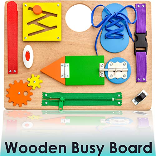 Montessori Busy Board for Toddlers  Wooden Travel Toy with Sensory Educational Activities for Fine Motor Skills  Toys for 3 Year Old Boys amp Girls