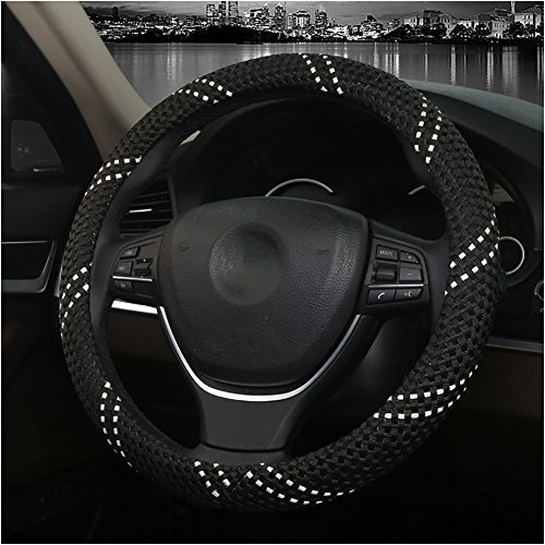 Couverture De Volant De Voiture Été Soie De Glace Enjoliveur De Roue Diamètre 38 Cm Confortable Respirant Mode Four Seasons Universal,Black