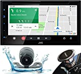 JVC Bluetooth Car Stereo Receiver with USB – 6.8' Touchscreen Display - AM/FM Radio - MP3, CD and DVD Player– SiriusXM - with Apple CarPlay and Android Auto with HD Camera PK9 Bundle