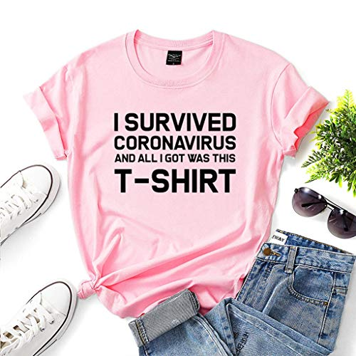 LXHcool Funny t-Shirt 2020 I Survived Coron_avirus T-Shirt, Wash Your Hands Shirt and All I Got was This T-Shirt (Color : Pink, Size : XL)
