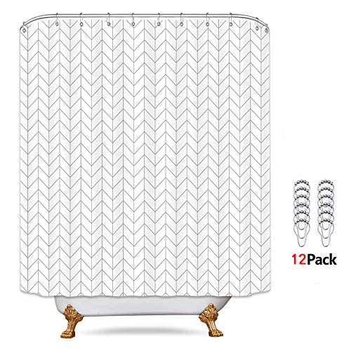 Riyidecor Striped Herringbone Chevron Shower Curtain Panel 72x96 Inch Free Metal Hooks 12-Pack Extra Long White Geometric Decor Fabric Bathroom Set Polyester Waterproof