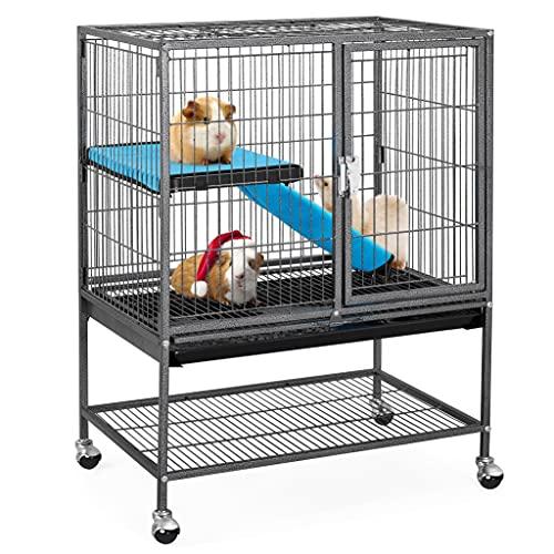 Yaheetech Cage pour Rongeur 2 Niveaux 1 Rampes Cage pour Petits Animaux 2 Portes Plateau Amovible pour Furets/écureuils/Chinchillas 61x42,5x85,5cm