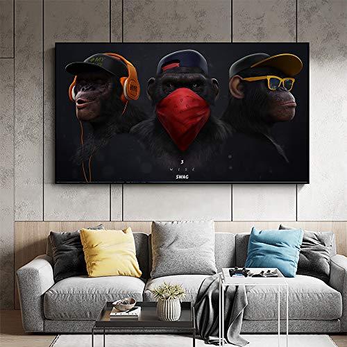 XWArtpic Große Tier Bild Leinwand Gedruckt Malerei Moderne Lustige Maske AFFE Moderne Kunst pPrint Wandkunst Poster für Wohnzimmer85*150 cm
