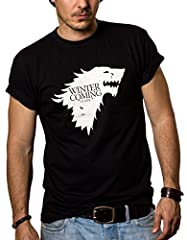 MAKAYA Camisetas Negras Hombre - Winter IS Coming