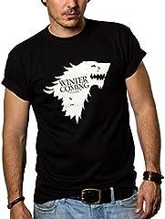 MAKAYA Camisetas Negras Hombre - Winter IS Coming