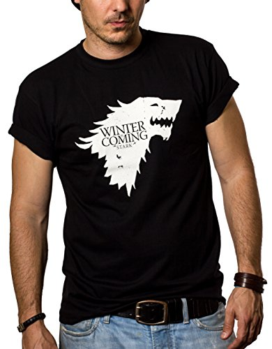 MAKAYA Camisetas Negras Hombre - Winter IS Coming - Juego de Tronos XXL