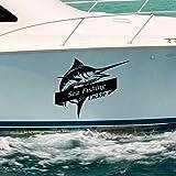 Attrezzatura da Pesca Marina Pesce Spada Marlin Sticker Decal Secchio Attrezzatura da Pesca Negozio Amo da Pesca Adesivo Serbatoio di Pesce Box Barca Auto Vinile 40x50 cm