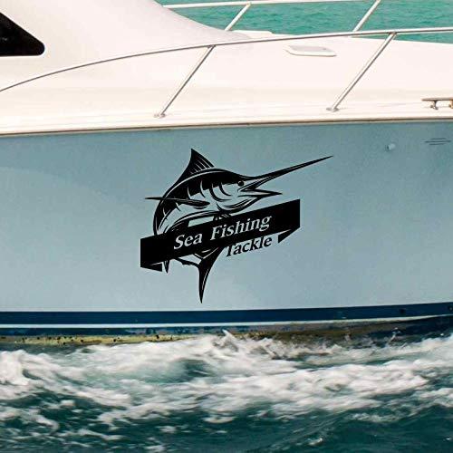 Aparejos de Pesca Marinos pez Espada pez Marlin calcomanía Cubo Pesca Aparejos Tienda Pegatina pez pecera pecera Barco Caja Coche Vinilo 80x99cm