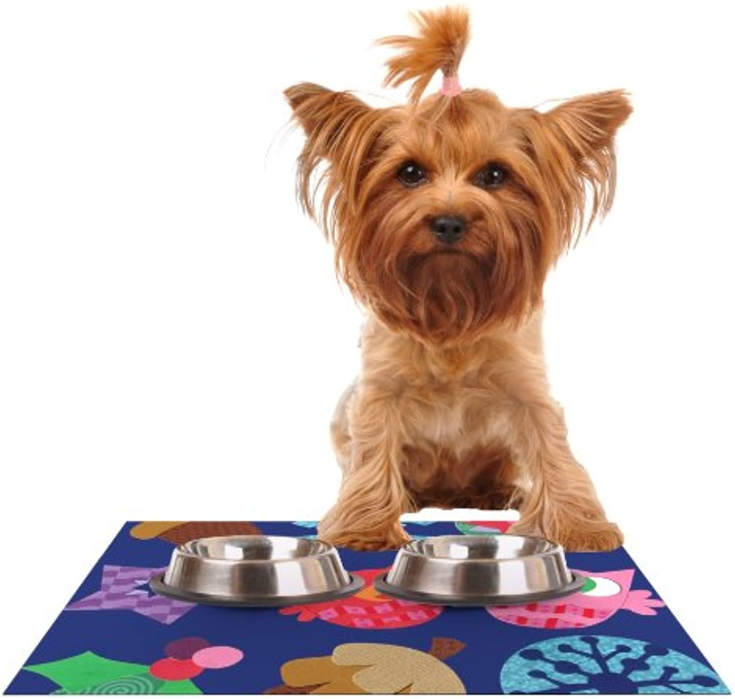KESS InHouse Jane Smith Winter Repeat  bluee Navy Feeding Mat for Pet Bowl, 18 by 13Inch