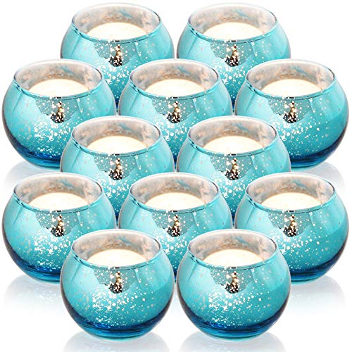 SHMILMH Round Blue Votive Candle Holders, Set of 12 Mercury Glass Tealight Candle Holders Bulk with Speckled for Table Centerpiece, Wedding Decoration, Party, and Home Decor