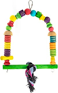 YINGGE Bird Hanging Swings Toys, Wooden Perch Toys for Medium and Large Parrots Cockatoo, African Grey, Macaws, Amazon, Sun Conures, Caique