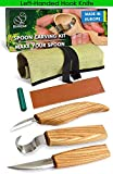BeaverCraft S13L Wood Carving Tools Set for Spoon Carving 3 Knives in Tools Roll Leather Strop and Polishing Compound Hook Sloyd Detail Knife Left-Handed Spoon Carving Knives