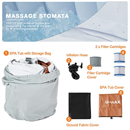U-MAX Inflatable Hot Tub, 2-4 Person Portable SPA Blow Up Hot Tub with Built in Heater and Bubble Function (Square 59