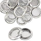 Griglia di ventilazione rotonda in acciaio inox, 20 pezzi, 53 mm, colore argento, copertur...