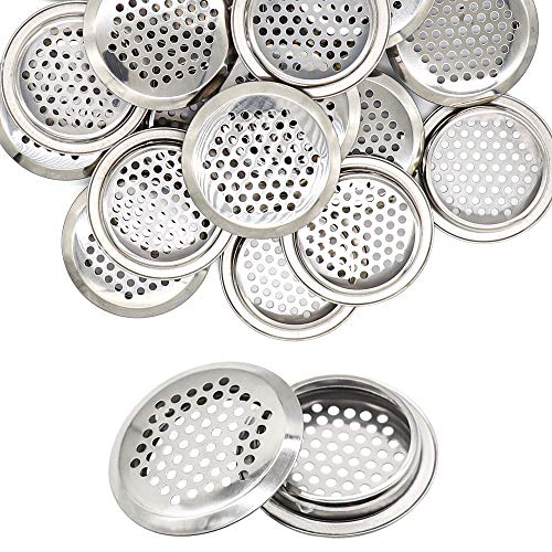 20 rejillas de ventilación redondas de acero inoxidable de 53 mm, cubierta de modelo de ventilación redonda plateada, rejilla de aire con orificio de malla para cocina, armario, armario, zapatero