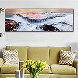 Lienzo y carteles, arte de pared, decoración del hogar, paisaje terrestre nórdico, lienzo, pintura para sala de estar, ola marina, cuadro de pared, impresión artística, 50x150cm sin marco