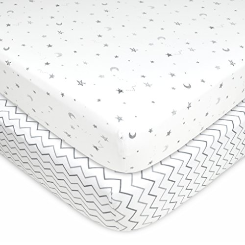 American Baby Company 2 Pack Printed 100% Cotton Jersey Knit Fitted Crib Sheet for Standard Crib and Toddler Mattresses, Grey Stars and Zig Zag, for Boys and Girls