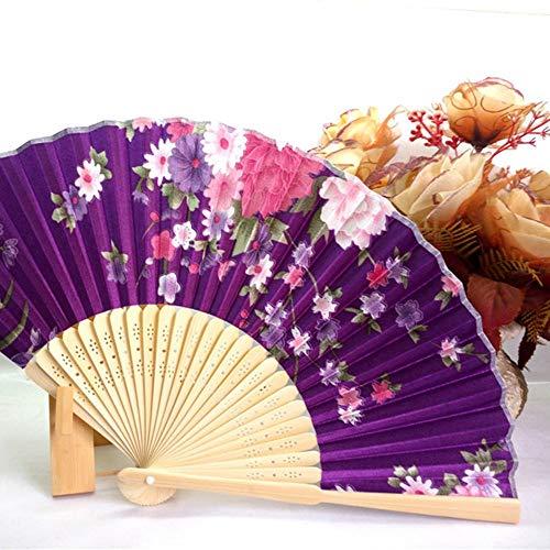 Ventilador portátil, japonés, Abanico Plegable de Mano para Mujer, n. ° 8, Hermoso Abanico de satén de Color Cereza con Marco de bambú (Pueple)