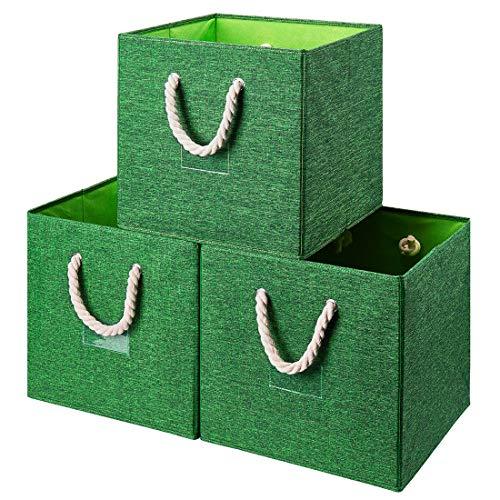 i BKGOO Juego de 3 Cubos de Tela Plegables Para Almacenamiento, Organizador de Cajas de Almacenamiento con asa de Cuerda Para el Hogar, la Guardería y más, color Verde 33x33x33 cm