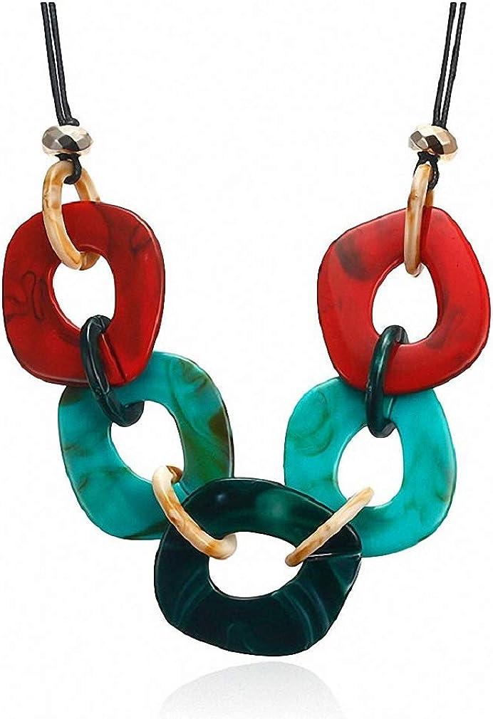 Xileg Long Chain Collar Choker Necklace Pendants Vintage Boho Acrylic Maxi Necklace Women Jewelry