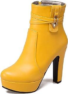 Z36781 - Botas de tacón alto para mujer, con cierre de cremallera, plataforma y cristales