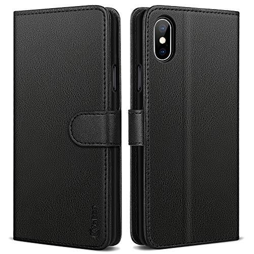 Vakoo Serie Wallet Custodia Cover per iPhone X, Cover iPhone XS, Nero