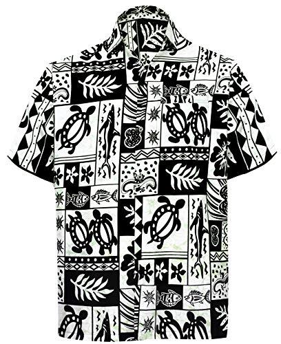 LA LEELA Casual Hawaiana Camisa para Hombre Señores Manga Corta Bolsillo Delantero Surf Palmeras Caballeros Playa Aloha M-(in cms):101-111 Negro_W124