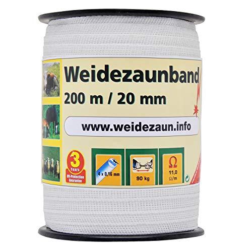 VOSS.farming Weidezaunband 200m, 20mm, 4x0,16 NIRO, weiß 1* Band für den Weidezaun