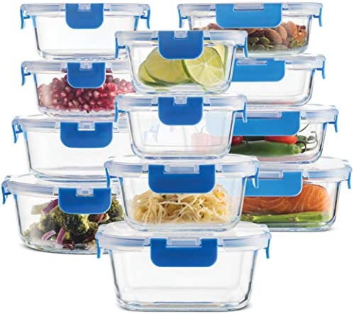 24 Piece Superior Glass Food Storage Containers Set Newly Innovated Hinged BPA free Locking product image