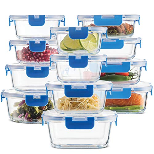 24-Piece Superior Glass Food Storage Containers Set - Newly Innovated Hinged BPA-free Locking lids - 100 Leak Proof Glass Meal Prep Containers Great on-the-go Freezer to Oven Safe Food Containers