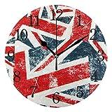 WowPrint Wanduhr, Vintage-Stil, UK-Flagge, Acryl, r&, nicht tickend, dekoratives Kunstgemälde für Büro, Klassenzimmer, Zuhause, Schlafzimmer, Wohnzimmer, Badezimmer, Küche