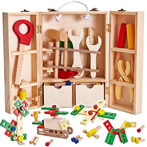 Buyger Holz Werkzeugkoffer Werkzeugkasten Werkzeug Spielzeug Spielwerkzeugen Rollenspiele Geschenk für Kinder Jungen Mädchen