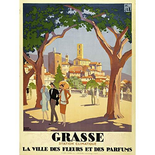 Broders Grasse Bloem Parfum Stad Reizen Advert Grote Ingelijste Art Print