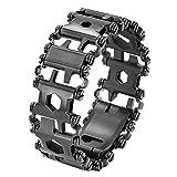LEERAIN Bracelet extérieur 29 en 1 Bolter Driver Tools Kit Multifonction Bande de roulement Bracelet en Acier Inoxydable Voyage Multitool Navigation/Voyage/Camping Randonnée