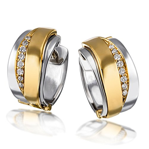 Goldmaid Damen-Creolen 585 Gelbgold und 925 Sterlingsilber 16 Diamanten Bicolor Ohrringe Brillanten