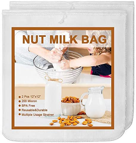 MARZAHAR 2 Pcs 12X12 Inches Nut Milk Bag 200 Micron Nylon Nut Milk Bags for Straining Reusable product image