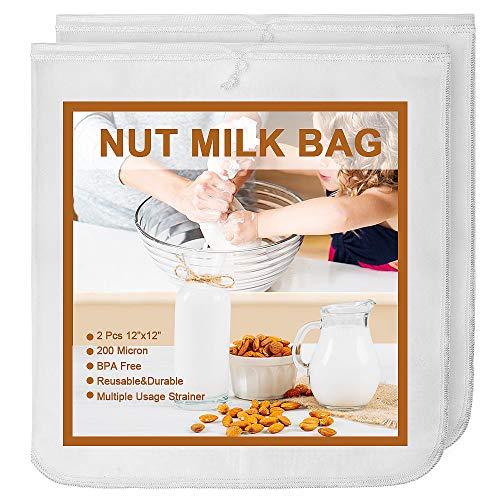 MARZAHAR 2 Pcs 12X12 Inches Nut Milk Bag, 200 Micron Nylon Nut Milk Bags for Straining Reusable, Food Fruit Celery Juice Yogurt Strainer Bag