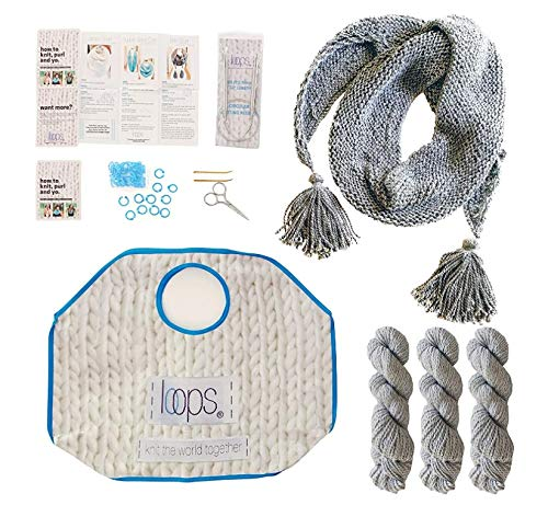 Knitting Starter Kit for Beginners   Includes 3 Patterns with Video Tutorials   Loops Luxe Chunky Royal Alpaca Yarn   Learn to Knit Kit   Light Gray