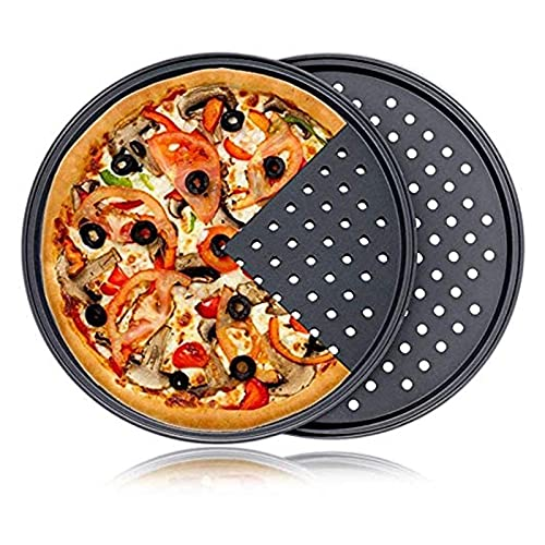 Plato de pizza de acero al carbono antiadherente para pizza, bandeja de malla, plato redondo y profundo, bandeja de pizza, molde para hornear utensilios para hornear (color: 26 cm)