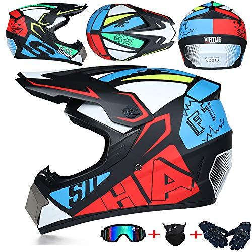 JCLDG Moto Kids Pro Kinder Crosshelm Motorrad Helm Motocross Helme Handschuhe Maske Brille (Set von 4) BMX MX Quad ATV Enduro Motorradhelm Kinderhelm Sport Sicherheit,Blau,S
