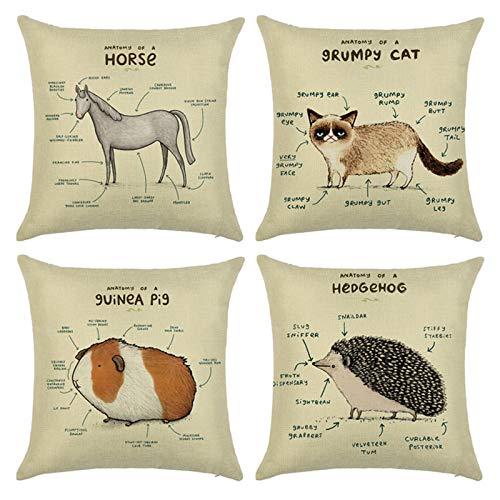 AmDxD Juego de 4 fundas de almohada de lino, cuadrada, 50,8 x 50,8 cm, diseño de caballo, gato, cobaya, cerdo, erizo, beige, marrón y gris