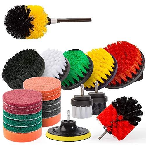 Fltaheroo 25Pcs Cepillo de Taladro Kit de FijacióN de Cepillo de Fregado de Limpieza EléCtrica con Extensor para BaaEra, Ducha, Azulejo y AutomóVil