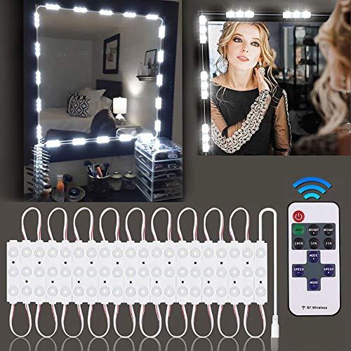 BLOOMWIN Luces LED Kit de Espejo con 60 Bombillas Regulables con Control Remoto Luces de Espejo de Tocador Cosmético Maquillaje Baño Ajustable Blanco para Fiesta Cumpleaños con Adaptador de UE