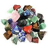 UFEEL 1 Pound Bulk Rough Madagascar Stones Mix Natural Raw Crystal Stones for Tumbling, Fountain Rocks, Decoration, Polishing, Wire Wrapping, Crystal Healing - Large 1 inch