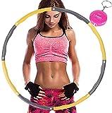 Aoweika Hula Hoop Reifen Erwachsene, Reifen mit Schaumstoff von 0,75 bis 1,0kg einstellbar, mit Mini Bandmaß für Erwachsene Anfängermit Gymnastikreifen zum Abnehmen, Fitness, Massage, Gelb und Grau
